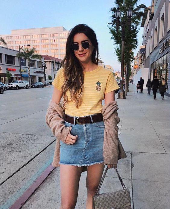 look tumblr de saia e blusinha amarela