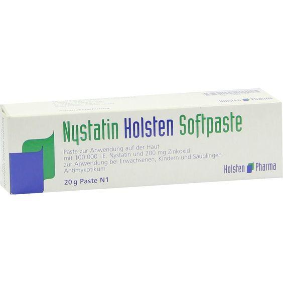 NYSTATIN Holsten Softpaste:   Packungsinhalt: 20 g Paste PZN: 01684696 Hersteller: Holsten Pharma GmbH Preis: 3,93 EUR inkl. 19 % MwSt.…