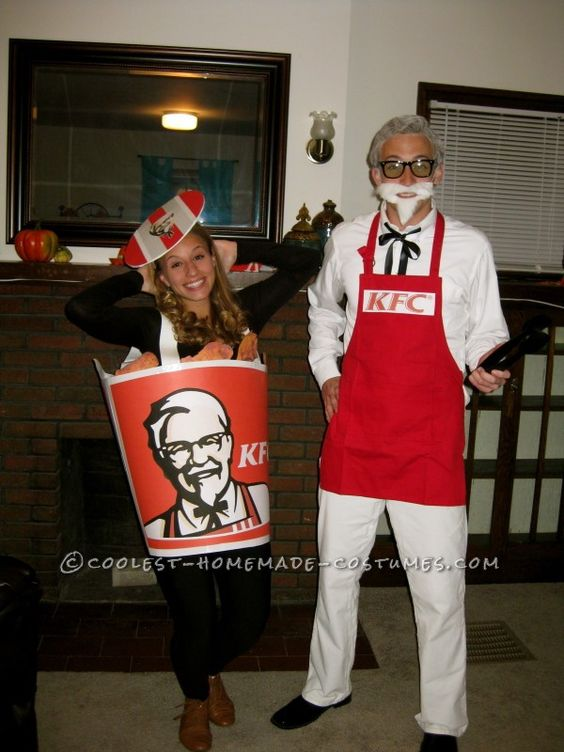 Colonel Sanders Couple Costumes And Fried Chicken On