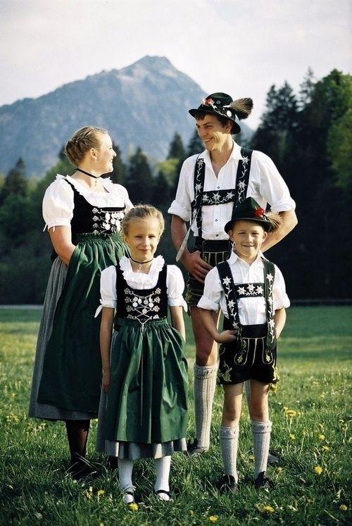 Germany U0026 Austrian Typical Dirndl Skirted Pinafores For The Women And Lederhosen For The Men ...