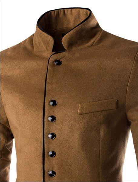 Retro Gentleman Unique Woolen Suit Stand Collar Single Breasted Edging Suit Coat at Banggood