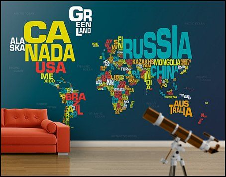 World map mural murals and travel themes on pinterest for Ash wallpaper mural