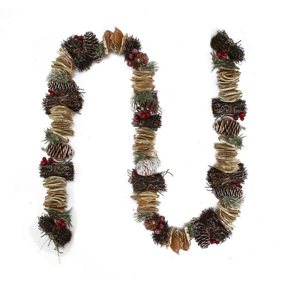 Frosted Pine Cone Natural Twig and Birch Wood Artificial Christmas Garland