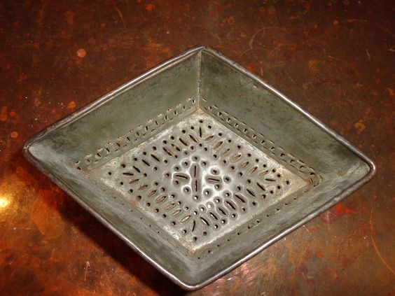 19th C Diamond Form Punched Tin Cheese Mold Antique Primitive | eBay
