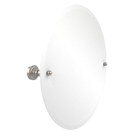 Allied Brass Dottingham Collection 22 in. L x 22 in. W Frameless Round Tilt Mirror with Beveled Edge in Satin Nickel