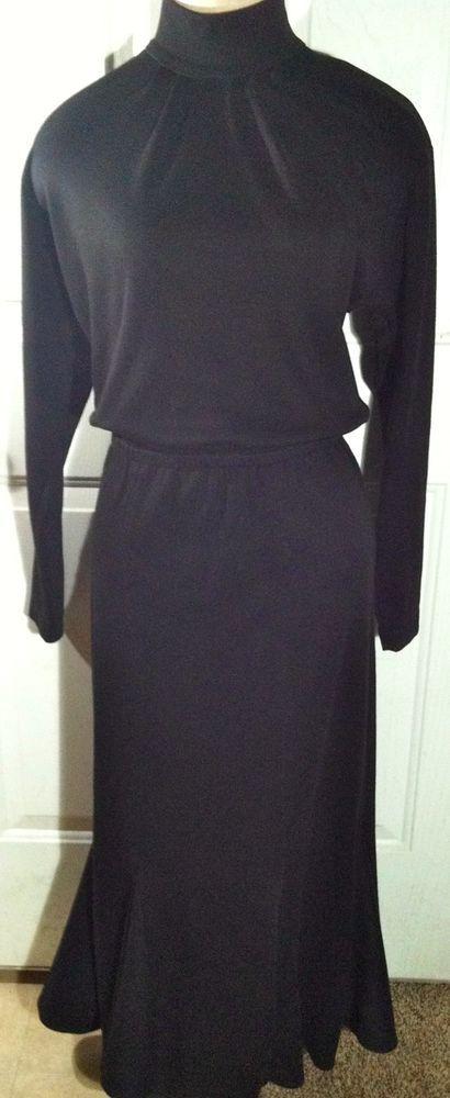 VTG Diane Von Furstenberg Black Gothic Modesty Tulip Fluted Dress Costume Sz 10 #DianeVonFurstenberg #Maxi