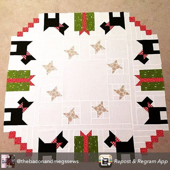 Sharing the tree skirt from my #fqswinterwonderland book that @thebaconandmegssews has finished! She did such a great job! Thanks for letting me share your picture @thebaconandmegssews!! If you are looking for the book, it's available at your local quilt shop and from @fatquartershop❤️✂️#fqsfun #showmethemoda #thisandthatpatterns #quilting