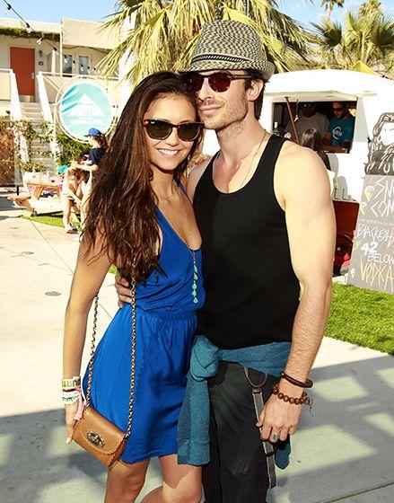 Nina Dobrev and Ian Somerhalder at Coachella 2012. They're so cute together! I'm jealous! I love her dress.