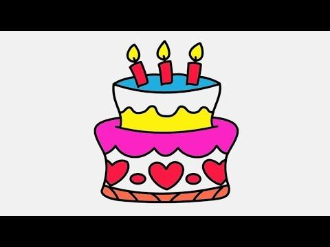 Drawing And Coloring Birthday Cake For Kids Coloring Page For