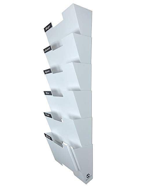 White Wall Mount Hanging File Holder Organizer 6 Pack Durable Steel Rack Solid Sturdy And Wide For Letters Files Maga Steel Racks File Holder Hanging Files