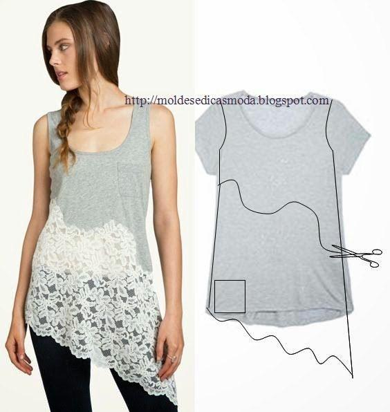 25 Ideas to Refashion T-shirt into chic top. #diy #crafts #refashion