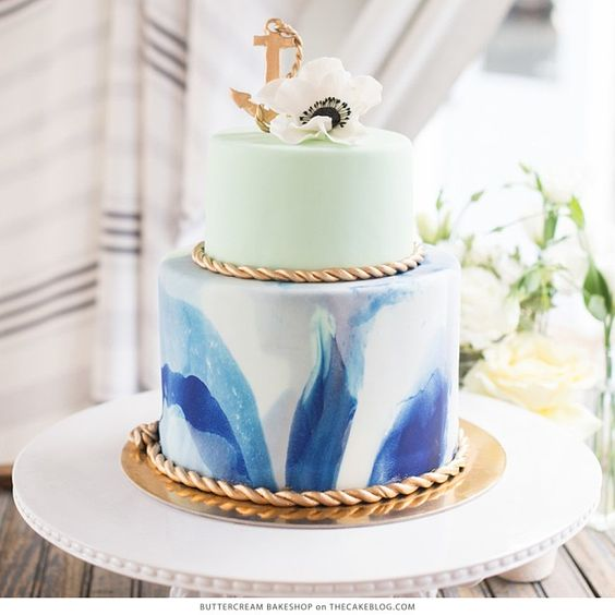 We're setting sail with 10 Nautical Cakes on the blog today, including this stunning marbled design by @bttrcrmbakeshop!  Hop over to thecakeblog.com to see all 10 cakes!  Photography by @sweetrootvillage.  Styling by @laurynprattes.
