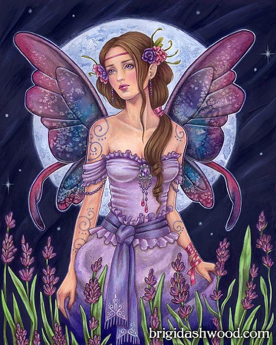 Lavender Moon Fairy  Color  Art Print  Brigid by brigidashwood, $15.00: