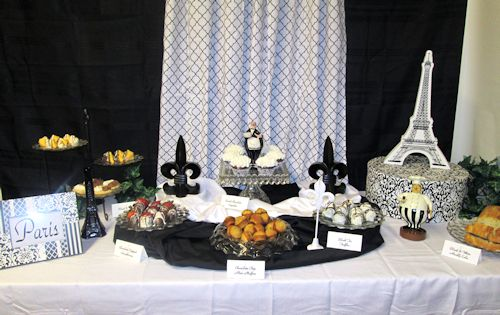 Traditional Dessert Table in Black and White (Paris Theme). All the serving dishes are my mom's Fostoria American pattern glass dishes.