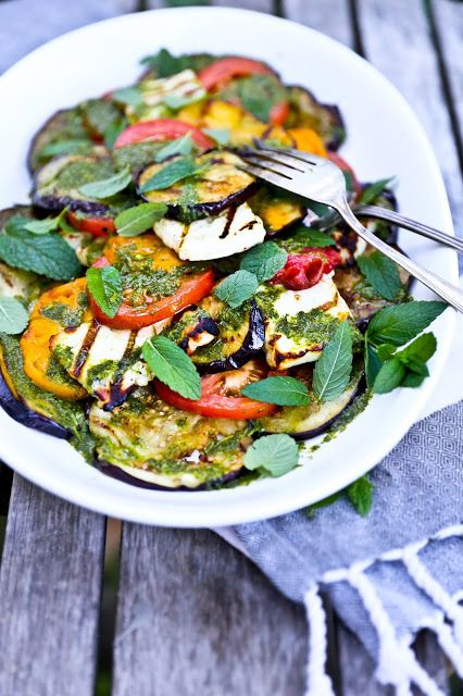 Grilled Halloumi Salad with eggplant, heirloom tomatoes and Mint Dressing...healthy, gluten free and delicious!! Perfect for your 4th of July BBQ!