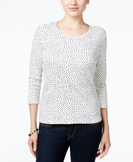 Charter Club Petite Dot-Print Top, Only at Macy's