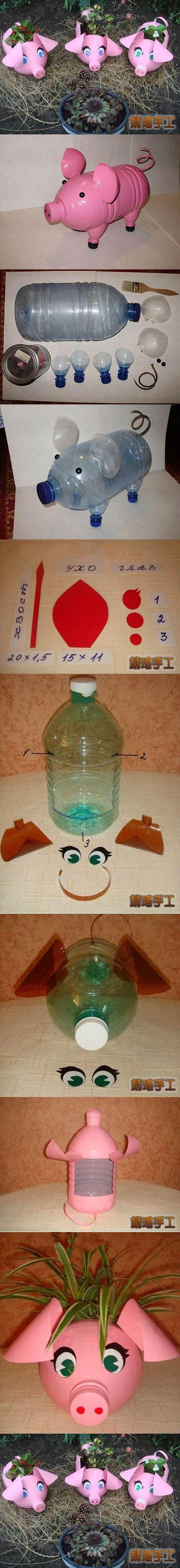 Wonderful DIY Piglet Planter from Plastic Bottles | WonderfulDIY.com