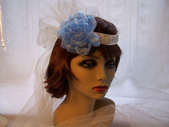Bridal Halo Veil with Finger Tip Veil and Blue Flower, Beaded Trim. $50.00, via Etsy.