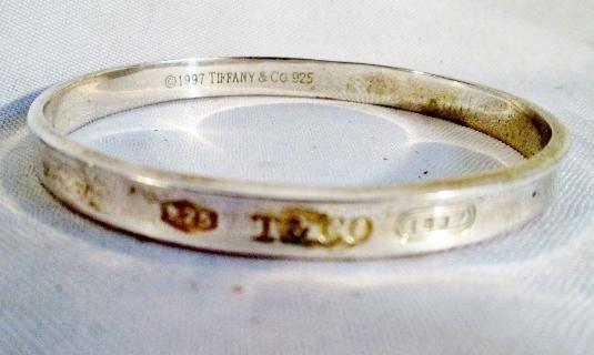 Signed 1997 Tiffany Co 1837 925 Sterling Silver Cuff Bangle Bracelet T Love Silver Cuff Bangle