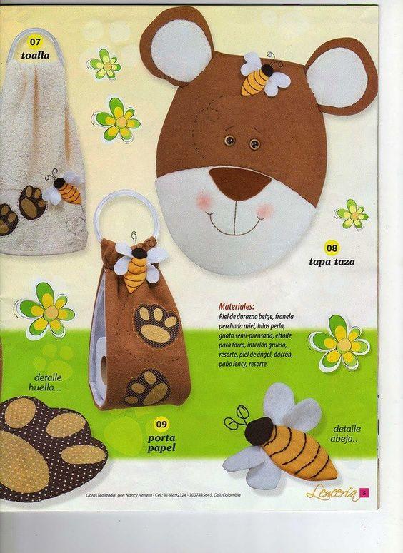 Set de ba o oso patrones en lenceria de cocina - Manualidades para cocina ...