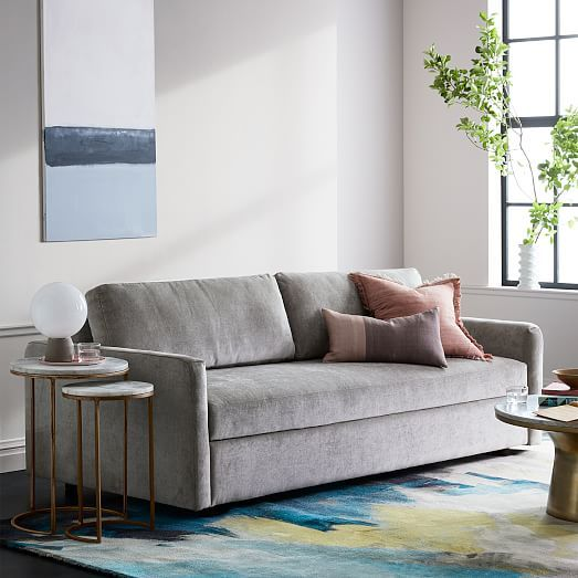 Clara Sleeper Sofa Worn Velvet Light Taupe Concealed Supports In 2020 Small Apartment Living Room Small Apartment Living Sofa Set