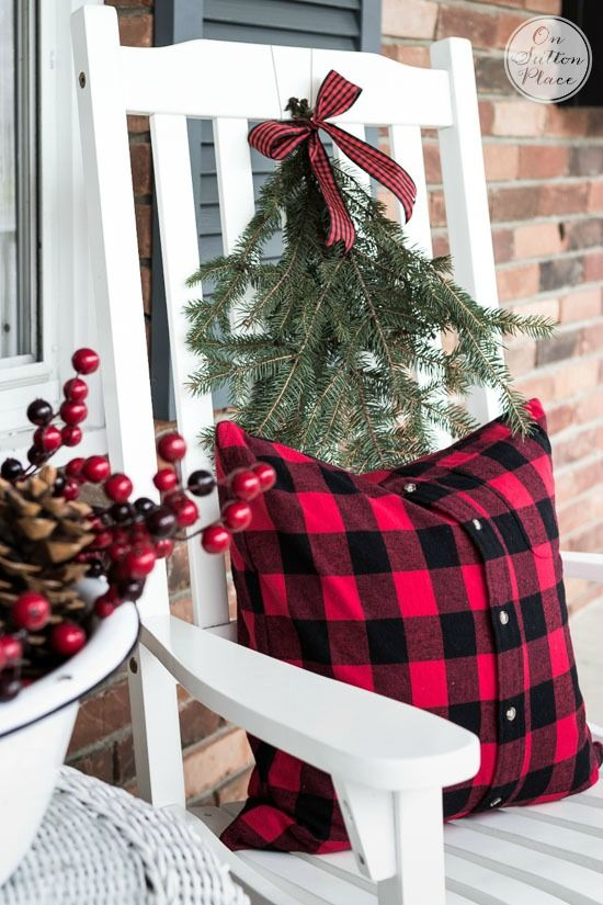 Repurposed Shirt Buffalo Plaid Pillow | Christmas Door Decor | Festive & Frugal Christmas Porch Decor | Ideas for adding easy touches of Christmas to welcome your family and friends to your home.: