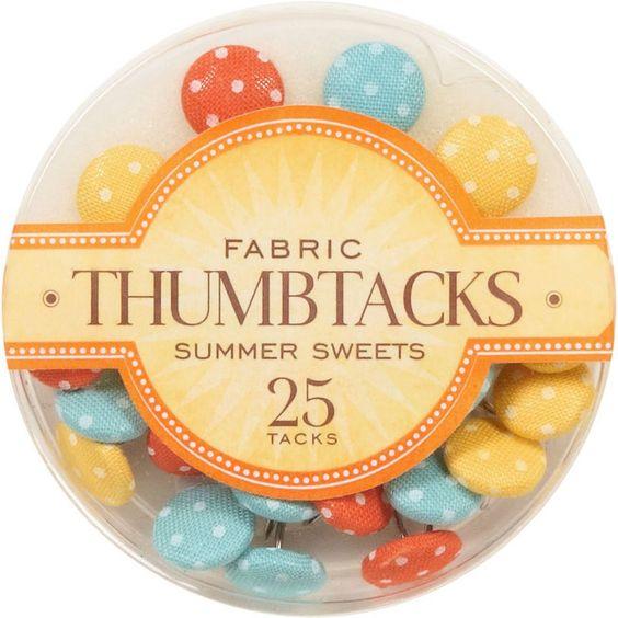 Fabric Thumbtacks - Polka Dot