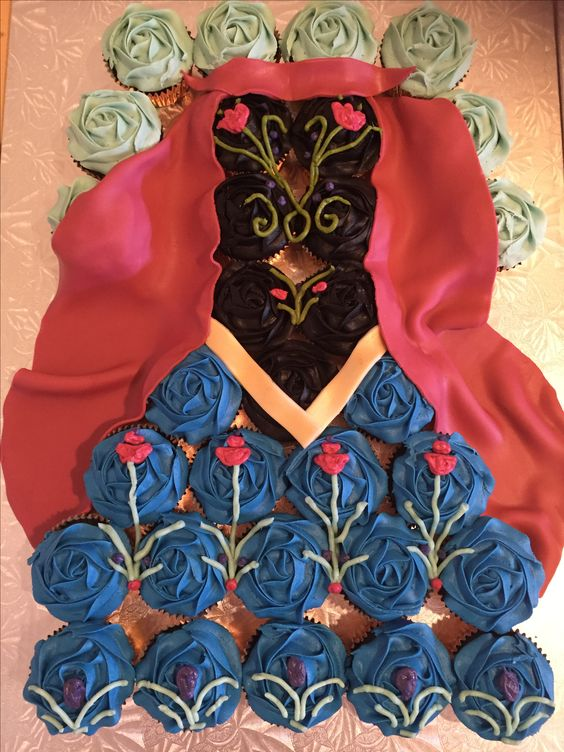 Princess Anna Cupcake Dress Cake #frozencupcakecake #frozen #anna #princessanna #cupcake #cake #dress