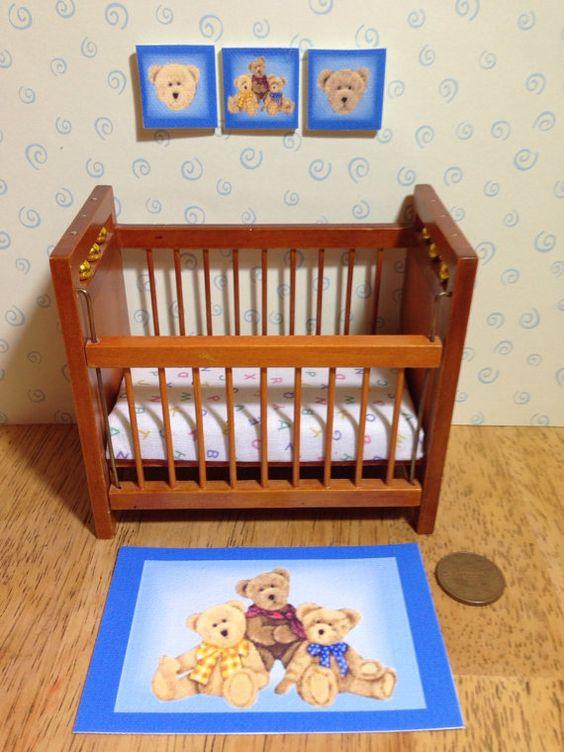 Maison de poupées pépinière toile tapis et wall art ensemble, ours en peluche 1/12 échelle