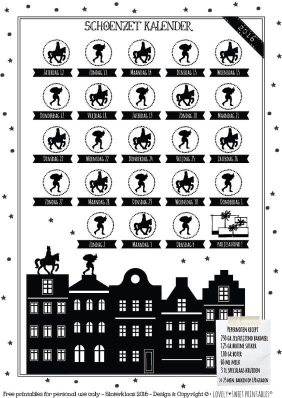 FREE DOWNLOAD 2016   Sinterklaas Schoenzet kalender Sweet Table Shop gratis te downloaden !