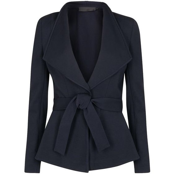 Womens Smart Jackets Donna Karan New York Navy Belted Jersey Jacket ($1,440) ❤ liked on Polyvore featuring outerwear, jackets, donna karan jacket, drape jacket, navy jacket, donna karan and jersey jacket
