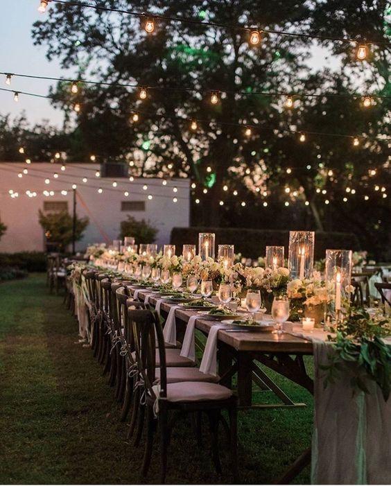 Backyard wedding with lights. Romantic Wedding Lighting Ideas #weddinginspiration