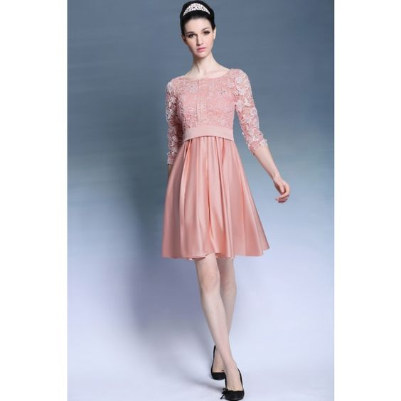 Three Quater Sleeves Skin Pink Lace Sweet 16 Party Dress BCDG6080
