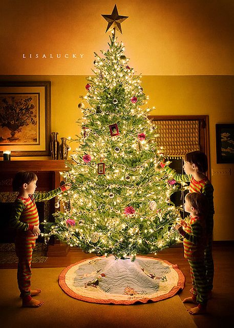 Holiday Christmas Tree photo-inspiration! Low-light, Christmas tree with the babes <3