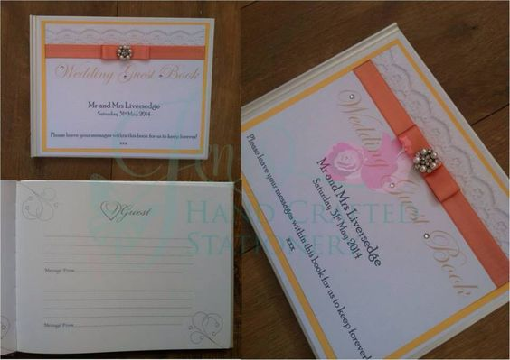 Peach wedding guest book with lace and diamanté and pearl embellishment www.jenshandcraftedstationery.co.uk www.facebook.com/jenshandcraftedstationery