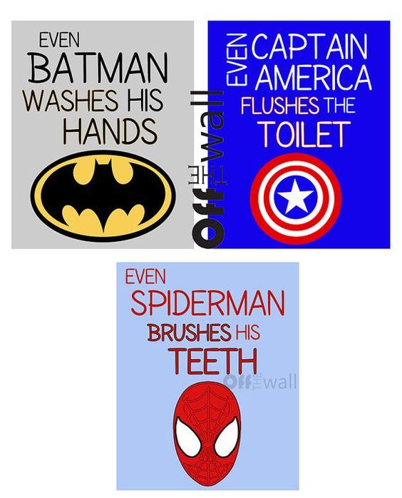 Superhero Bathroom Art Prints Set of 3 8x10 by OffTheWallbyLeah