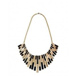 Retro style black and gold fan short necklace
