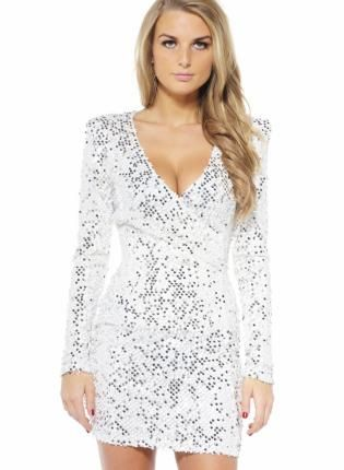 Silver Sequin Long Sleeve Dress with V-Neck Front- Dress- long ...