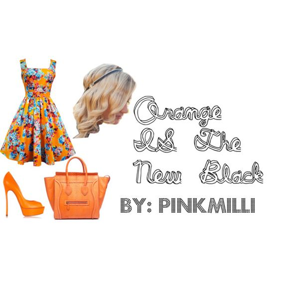 Orange IS The New Black by pinkmilli on Polyvore featuring Casadei, CÉLINE and Dauphines of New York