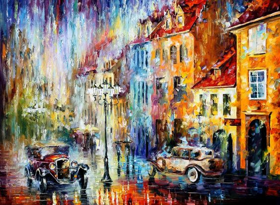 "Original Recreation Oil Painting on Canvas This is the best possible quality of recreation made by Leonid Afremov in person.  Title: Downpour, Geneva Size: 30""x36""(75cm x 90cm) Condition: Excellent Brand new Gallery Estimated Value: $6,500  Type: Original Recreation Oil Painting on Canvas..."