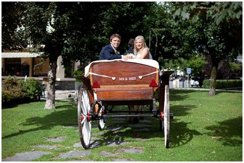 wedding horse and carriage for sunny Chamonix wedding #france