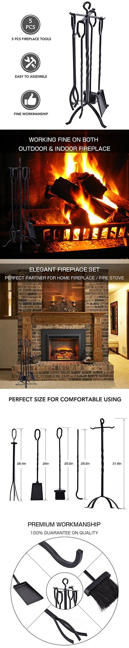 Fireplace Tool Set Heavy Duty 5 Pieces Wrought Iron Fireplace