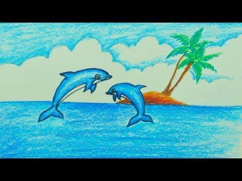 Como Dibujar Y Colorear Dibujo Delfín Dibujos Para Niños Con Aprender Colores Yo Delfin Dibujo Tutoriales De Pintura De Lona Arte En Colores Pastel Al óleo