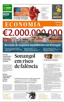 Revistas e Jornais: SEMANÁRIO EXPRESSO ECONOMIA - (20 DE JUNHO 2015)