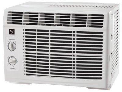 """MIDEA AMERICA CORP/IMPORT MWK-05CMN1-BI7 Westpointe 5K Air Conditioner  Mechanical window air conditioner that cools up to 150 square feet of area. Includes rotary thermostat control, 9.7 EER, a window installation kit, and a 2 speed cool/fan. Fits window 23"""" minimum to 36"""" maximum with window side panels attached to each side of the cabinet. Uses eco-friendly R410A refrigerant and 1 year full parts and labor carry in coverage warranty. 5 years carry in sealed system 5 years carry in.."""