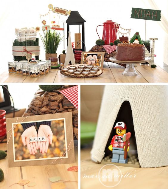 """This camping birthday party is what we call """"cottage chic."""" So great!: Indoor Camping Parties, Birthday Parties, Camping Birthday, Party Idea, Camping Party, Camping Ideas, Party Camping, Birthday Ideas, Birthday Party"""