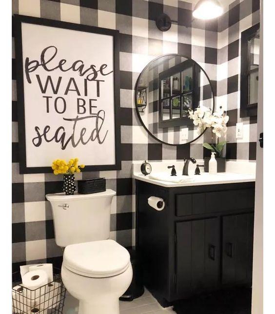 Buffalo Plaid Peel Stick Wallpaper Black Threshold Black White Bathrooms Small Bathroom Decor White Bathroom Decor