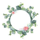 Watercolor hand painted round frame with eucalyptus and pink flowers.