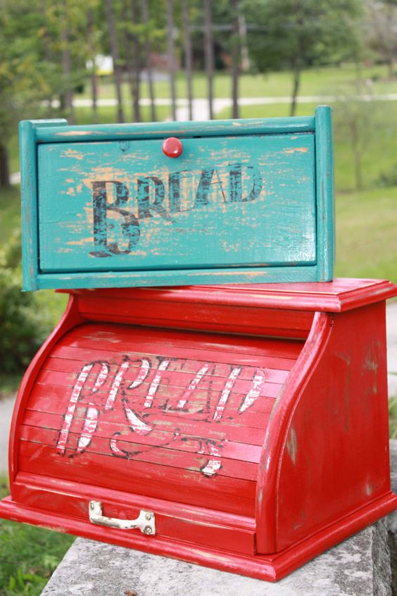 Vintage Upcycled Farmhouse Chic Wooden Bread Boxes - Turquoise and Red - Shabby Chic - Vintage Metal Handle - Kitchen Decor Maybe I'll do this to my old bread box!