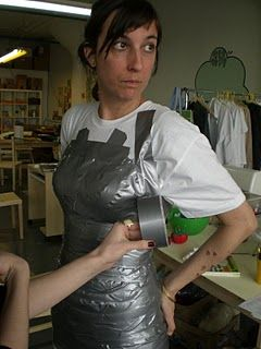 Custom fit dress form made out of an old tshirt and duct tape!  It's not pretty but it works